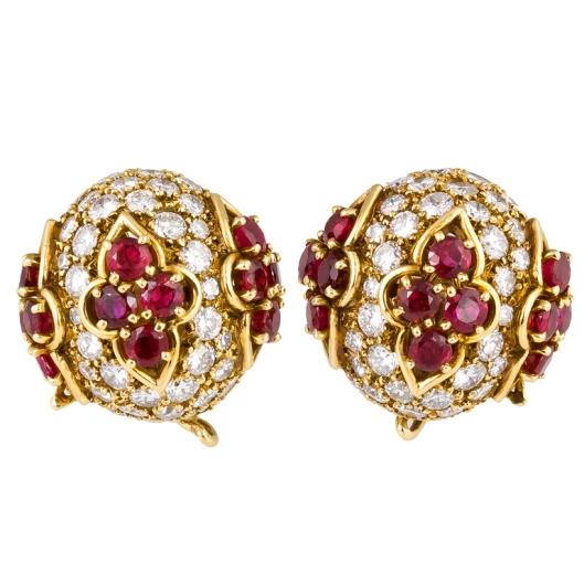 VAN-CLEEF-ARPELS-Diamond-Ruby-and-Gold-Dome-Earrings-Botier