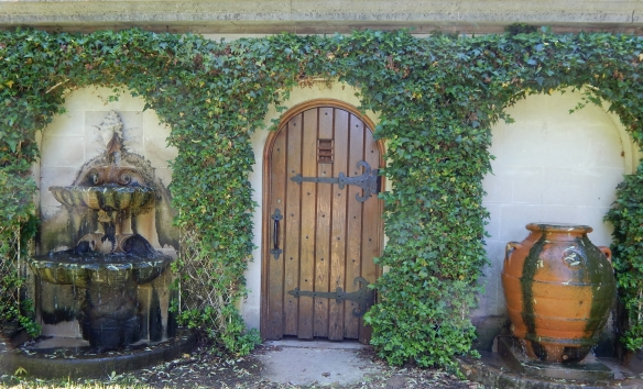 door and urn fountain