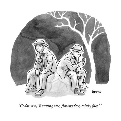 benjamin-schwartz-godot-says-running-late-frowny-face-winky-face-new-yorker-cartoon